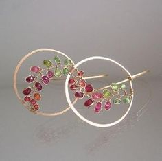 Pink Sapphire Gold Hoops Wire Wrapped Peridot by bellajewelsII by kim