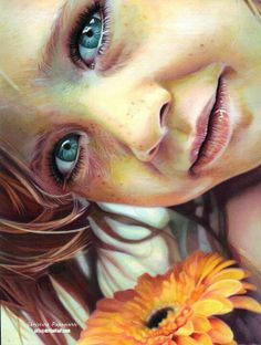 #Beautiful Colored Pencil #Drawing by Christina Papagianni depicting a young girl with striking eyes and an orange flower.