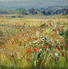 Rex PRESTON - Edge of a Barley Field, Norfolk Coast Landscape Artwork, Abstract Landscape Painting, Abstract Art, Nature Paintings, Beautiful Paintings, Wow Art, Artist Art, Watercolor Illustration, Champs