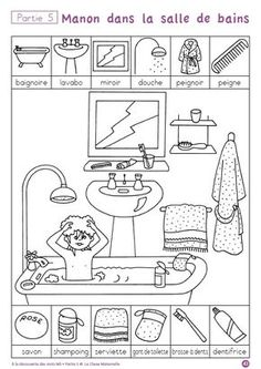 """""""A la decouverte des mot"""" -- ten free printable pages to help children practice hygiene and routine vocabulary in French (""""la salle de bains"""") via cut-and-paste and other worksheets. Four other sets of worksheets on other themes also available. Educational Activities, Preschool Activities, French Worksheets, French Classroom, Hidden Pictures, French Lessons, Teaching French, Preschool Worksheets, Learn French"""