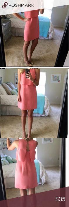 Pink Scalloped Loft dress So cute LOFT Dresses