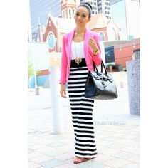 Striped maxi skirt with a pop of pink ❤ liked on Polyvore