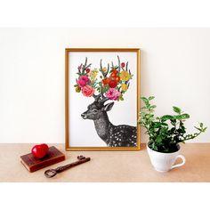 DEER print  art print digital  A4 by Fleuriosity on Etsy