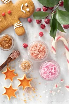 Learn how to make the best DIY lip scrub recipes for the holiday season! Exfoliate and moisturize dry, flaky lips with delicious winter flavours. This simple tutorial includes recipes for peppermint candy cane, gingerbread, cranberry and spiced orange. Make these edible Christmas lip scrubs in minutes with natural ingredients like sugar and liquid coconut oil. #lipscrub #alifeadjacent #sugarscrub Diy Natural Beauty Recipes, Homemade Beauty Recipes, Diy Beauty, Lip Scrub Homemade, Homemade Skin Care, Lip Scrubs, Sugar Scrubs, Salt Scrubs, Body Scrubs