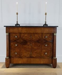French walnut empire commode - Decorative Collective Antiques Online, Selling Antiques, Upholstered Furniture, Painted Furniture, Period Color, Honey Colour, Walnut Veneer, Brass Handles, House Numbers