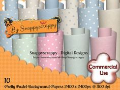 Pastel Digital Papers Scrapbooking Paper by Snappyscrappy on Etsy