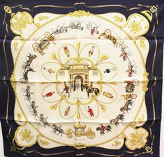 "HERMES Silk Scarf ""The Royal Mews"" by Fougerolle 1994 Unworn Box/Tags 90cm Navy 
