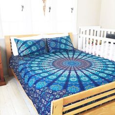 Blue Multi Reversible Peafowl Mandala Duvet Cover with Set of 2 Pillow Covers