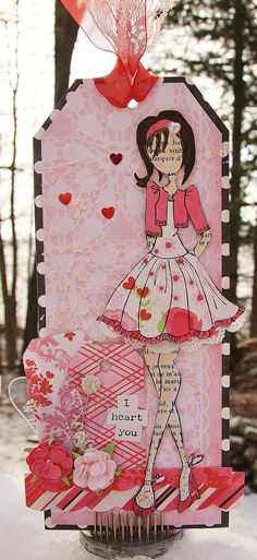Valentine's Prima Doll Tag for a Valentine's  Blog hop. I used Echo Park's Love Story collection!