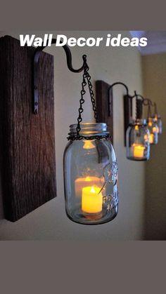 Mason Jar Wall Sconce, Mason Jar Candles, Candle Sconces, Hanging Mason Jars, Mason Jar Lamp, Home Crafts, Diy Home Decor, Wood Home Decor, Room Decor
