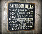 Bathroom rules sign - so making this for the kids bath