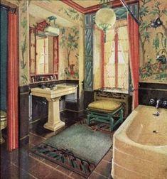 Antique bath mat Chinese scholar motif wool rug Art Deco period 2.5' X 5'red blue shades seasonal no Saunas, Bathroom Vintage, 1930s Bathroom, Retro Bathrooms, Art Deco Bathroom, Dream Bathrooms, Bathroom Designs, Bathroom Ideas, Chinese Bathroom