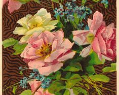 """Antique Postcard With """"Every Good Wish Be Yours"""" Message Surrounded by Pink and Yellow Roses. This Beautiful Antique Card is Circa 1910. - Edit Listing - Etsy"""