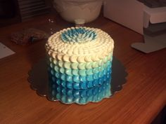 "Ombre cake with buttercream ""scales""."