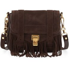 Proenza Schouler PS1 Suede Fringe Shoulder Bag ($1,425) ❤ liked on Polyvore featuring bags, handbags, shoulder bags, bolsas, purses, brown, brown suede handbag, suede fringe handbag, shoulder strap purses and brown suede purse