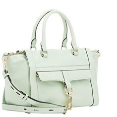 """NEW! Rebecca Minkoff Bowery Satchel Rebecca Minkoff Aloe (pale green) leather Bowery satchel. Logo-debossed pale goldtone metal bar back Polished pale goldtone hardware. Zip pocket beneath front flap with large dog-clip closure. Protective metal feet at base. Lined in leopard-print twill. Zip pocket and three slip pockets at interior. Top zip closure. 7.75"""" height x 16.25"""" width x 6.75"""" depth  4.75"""" handle drop, 18.25"""" to 24.75"""" short strap Rebecca Minkoff Bags Satchels"""