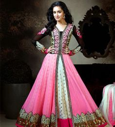 title_Shraddha Kapoor Pink Creame Anarkali Suit_T-510-905