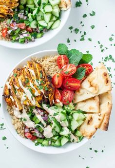 Loving this recipe for healthy Chicken Shawarma Quinoa Bowls with a super easy hack for creating make-ahead meal prep style lunches for work or school!