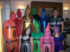 Homemade Crayola Crayons Costume: On the 19th of September 2008 a group of friends wore the homemade Crayola crayons costumes to a 21st fancy dress birthday party! Our crayons now have