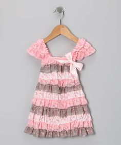 Royal Gem Pink & Cream Lace Ruffle Dress - Toddler & Girls by Royal Gem #zulily #zulilyfinds