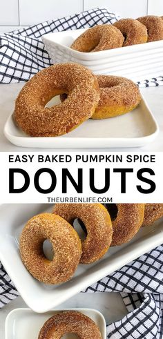 These homemade easy baked pumpkin spice doughnuts come together with just 10 ingredients in about 30 minutes! Quick, easy, healthy dairy free, egg free, vegan. Perfect fall and autumn treat! Decorate with cinnamon sugar coating, glazed, frosting, or leave them bare.