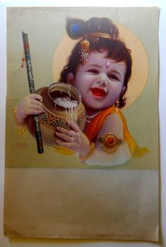 Vintage religious print of Hindu God Baby Krishna Baby Krishna, Little Krishna, Krishna Leela, Cute Krishna, Radha Krishna Images, Lord Krishna Images, Radha Krishna Photo, Krishna Pictures, Krishna Photos