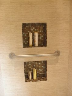 Great Universal Design solution in bathroom-dual height niches designed by @thebasicsource's Ronnie Rosenbach via @LindaLongo enLIGHTenment mag