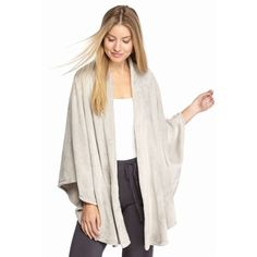 N Natori Silver Solid Cashmere Fleece Poncho - Women's ($4.98) ❤ liked on Polyvore featuring outerwear, silver, fleece poncho, cashmere poncho, white poncho, n natori and wrap poncho