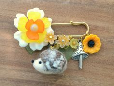 Hedgehog jewelry needle felted hedgehog pin by NozomiCrafts, $20.00