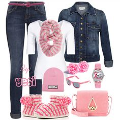 Denim and pink outfit. 226