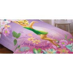 Fairies be Yourself Reversible Comforter, Twin/Full This beautiful Fairies Be Yourself Twin/Full 72″x86″ reversible comforter features a large image of Tinker bell on one side and reverses to Tinker bell and her Fairy Friends on the other side. Made of soft 100% polyester microfiber.