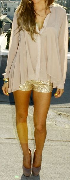 Love the shorts paired with a flowy top