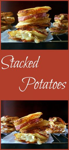 Stacked Potatoes make using red and white potatotes. Use a Muffin pan to make sure that they stay stacked