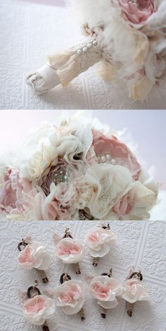 Fabric Flower Custom Wedding Bouquet with rhinestone