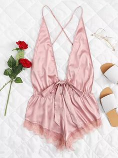 Shop Open Back Lace Hem Teddy Bodysuit online. SheIn offers Open Back Lace Hem Teddy Bodysuit & more to fit your fashionable needs. Lingerie Rose, Jolie Lingerie, Lingerie Outfits, Lingerie Shoot, Sheer Lingerie, Pretty Lingerie, Beautiful Lingerie, Lingerie Sleepwear, Bodysuit Lingerie