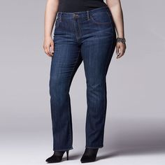 Plus Size Simply Vera Vera Wang Modern Fit Bootcut Jeans, Women's, Size: 18W Short, Med Blue