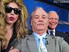 Lady Gaga, Bill Murray and David Letterman capture a #selfie on Twitter last night in New York City!