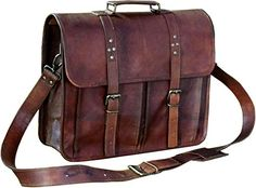 Amazing offer on 16 Inch Leather Vintage Cross-body Messenger Satchel Bag Men Women ~ Business Work Briefcase Carry Laptop Computer Book online - Newtoprated Vintage Messenger Bag, Messenger Bag Men, Coach Leather Bag, Leather Bags, Leather Backpacks, Leather Wallets, Leather Men, Satchel Bags For Men, Crossbody Bags