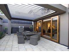 Vergola over outdoor kitchen / BBQ area Pergola With Roof, Patio Roof, Backyard Patio, Pergola Kits, Outdoor Living Areas, Outdoor Rooms, Outdoor Decor, Alfresco Area, Patio Kitchen