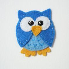 1pc - Blue Owlet Felt Applique - 55x45mm - made to order. $1.70, via Etsy.