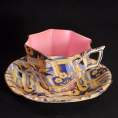 GRIMWADES Atlas 8 Sided CUP SAUCER 1885-1900 Flower & Ribbon CHINTZ Yellow PINK #8SidedCup #GrimwadeAtlasChinaWorks