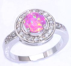 2015 ! Noble Wholesale & Retail For Women Jewelry Blue Pink White Fire Opal & Cubic Zirconia Silver Ring Size 6 7 8 9 OJ6804-06