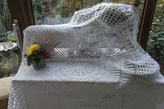 Traumhafte antike große Decke aus Haekelspitze, Handarbeit • EUR 30,00 - PicClick DE