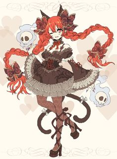 Neko anime girl cute skulls