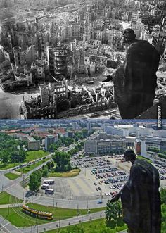 World War 2: Dresden, Germany - Then v. Now