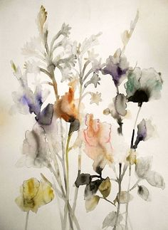 Lourdes Sanchez, Tuberose, Gladiolas and Rose 2 2014, watercolor