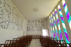 chapel of the rosarie, vence, when Matisse finally got ahold of stained glass, 1950, before he died