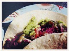 fish tacos w/ creamy lime guacamole, dragon fruit salsa & cabbage slaw