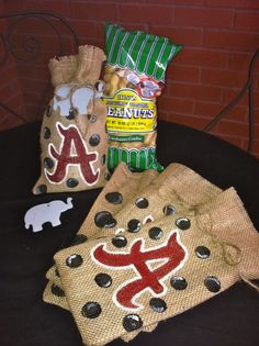 Alabama Crimson Tide - Set of 4 - Burlap Gift Bags
