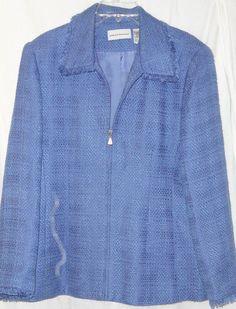 ALFRED DUNNER 16 Blue Textured jacket Blazer zip front Fringe Womans #AlfredDunner #BasicJacket